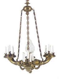 A GILT-BRONZE AND FROSTED GLAS