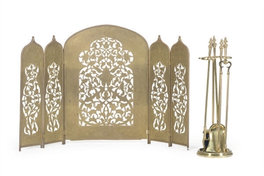 A BRASS FIVE-PANEL FIRESCREEN,