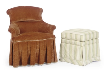 A BROWN COURDUROY UPHOLSTERD C