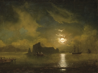 Ships off a moonlit coast