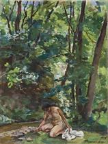 A woman beside a stream
