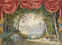 Stage design for Giselle: Act I, A rustic village on the Rhine