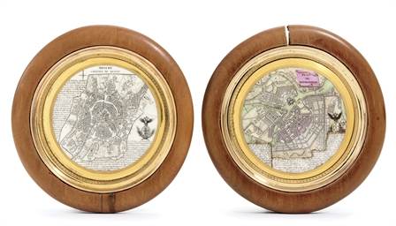 Two porcelain plaques with map