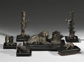 A bronze and onyx desk set
