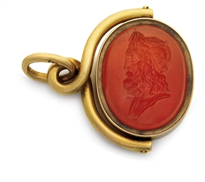 A gold-mounted carnelian penda