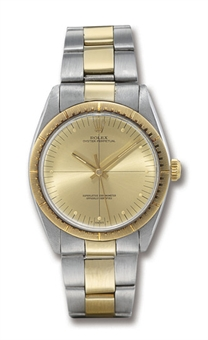 ROLEX, OYSTER-PERPETUAL REF. 1038  STAINLESS STEEL AND GOLD SELF-WINDING BRACELET WATCH WITH SWEEP SECONDS