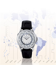 PATEK PHILIPPE, WORLD TIME REF. 5110G  18K WHITE GOLD SELF-WINDING WORLD TIME WRISTWATCH