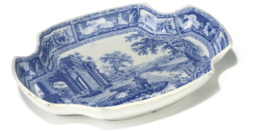 AN ADAMS PEARLWARE BLUE AND WH