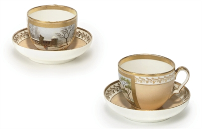 A PAIR OF PARIS PORCELAIN PEACH-GROUND BREAKFAST CUPS AND SA...
