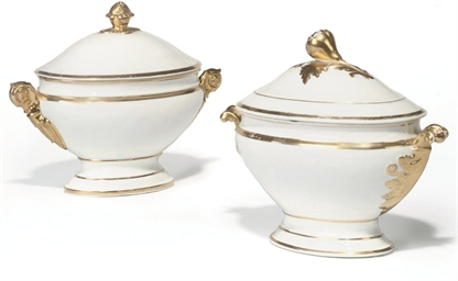 TWO CONTINENTAL PORCELAIN GILT