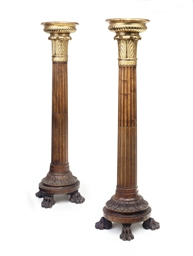 A PAIR OF PARCEL-GILT AND ELM