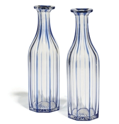 A PAIR OF BLUE-STAINED CLEAR G