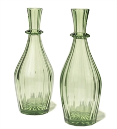 A PAIR OF ENGLISH GREEN GLASS