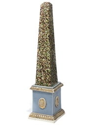A RALPH WOOD PEARLWARE OBELISK