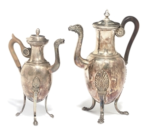 TWO FRENCH SILVER-PLATED COFFE