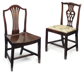 TWO GEORGE III MAHOGANY CHAIRS
