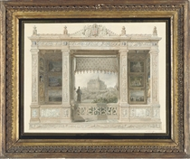 The Château at Chatillon-Coligny-Montmorency of the Montmorency family, observed through a window from a neo-classical picture gallery