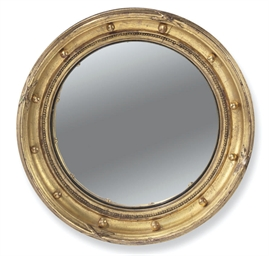 TWO GILTWOOD CONVEX MIRRORS