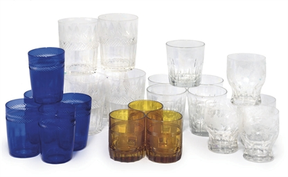 A COLLECTION OF GLASS TUMBLERS