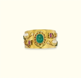 A GEM-SET AND ENAMEL BANGLE, B