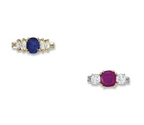 TWO GEM-SET AND DIAMOND RINGS