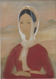 Lady in red with scarf around