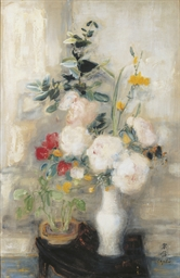 Still life - white vase with f