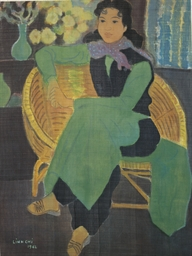 Seated lady in green