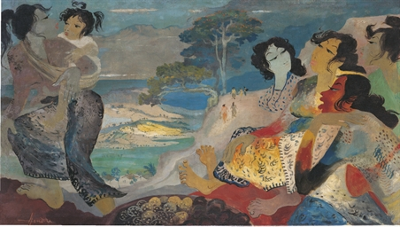 Women overlooking a cliff with