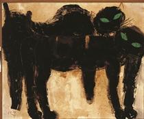 Dua kucing hitam mata hijau (Two black cats with green eyes)