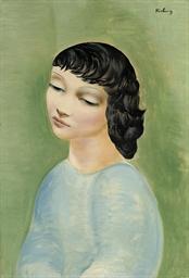 Jeune fille au corsage bleu