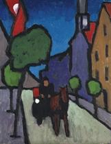 Murnauer Hauptstrasse mit Pferdefuhrwerk