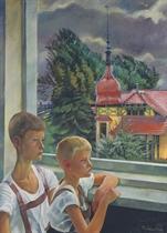 Luca und Titus am Fenster, Regen im Sommer