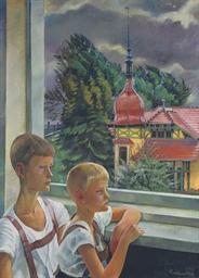 Luca und Titus am Fenster, Reg