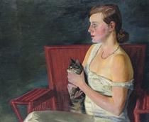 Bildnis Londa (Profil) mit Katze