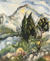 Landschaft mit Zypressen