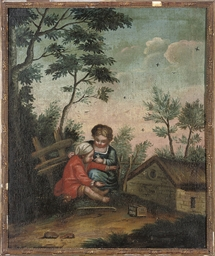Children playing beside a cott