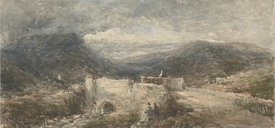 Travellers crossing a bridge