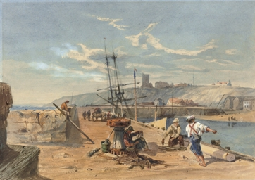 Figures on the quayside, Folke