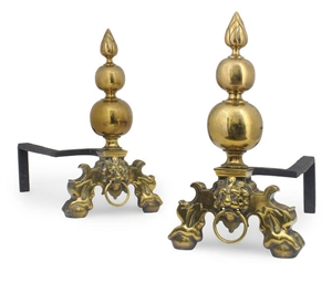 A PAIR OF DUTCH STYLE BRASS CH