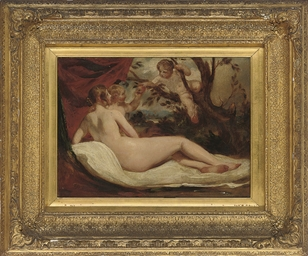 Reclining nude with putti