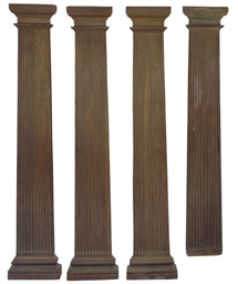 A SET OF FOUR LARGE HARDWOOD P