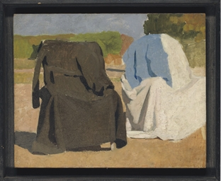 Study of two coats draped over