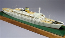 A waterline travel agent's model of the SS Statendam