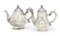A coffee pot and a tea pot in silver for the Nord Deutscher