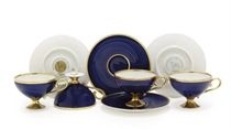 A set of four demitasse cups and saucers for the Nord Deutsc