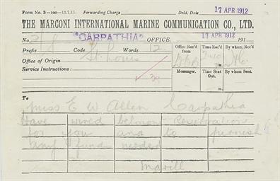 A Marconi gram sent to Miss El