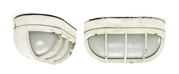 A pair of exterior deck lights