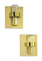 A pair of brass and glass scon