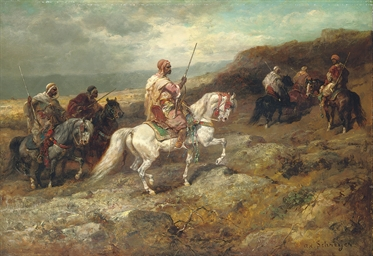 Arab warriors on a rocky hills